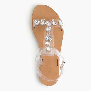 J.Crew | Jewel Studded Jeweled T-strap Sandals